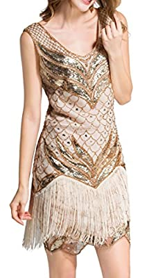 Women's Flapper Dresses 1920s V Neck Beaded Fringed Great Gatsby Party Dress