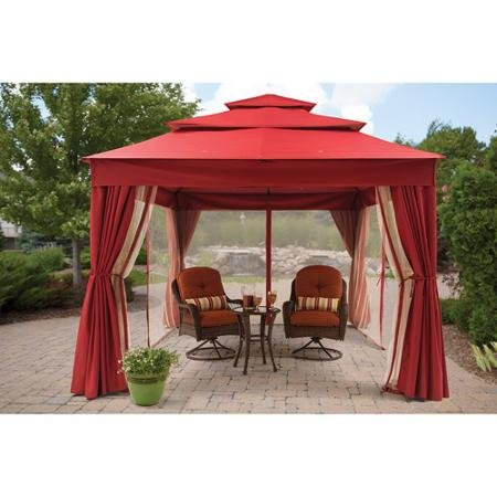 Better Homes and Gardens Archer Ridge 3-Tier Gazebo with Netting & Sun Panel, Red, 12' x 10' (Curtain Retailer)
