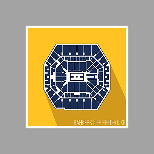 Indiana - Bankers Life Fieldhouse - Basketball Seating Map - 18x18 Matte Poster Print Wall Art