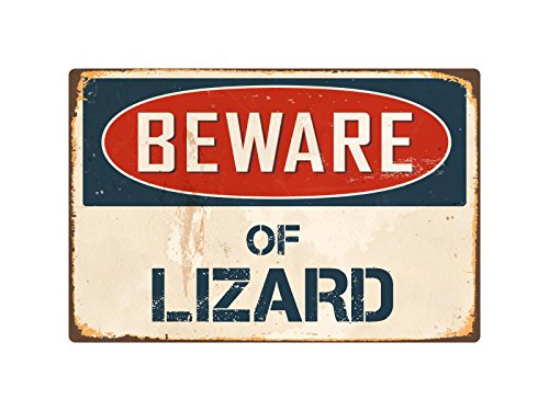 "Beware Of Lizard 8"" x 12"" Vintage Aluminum Retro Metal Sign VS256 - Antique Pirate Gun"
