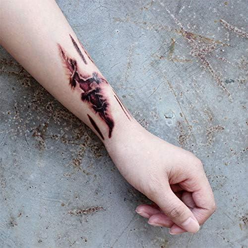 Haodou 5 Hojas Halloween Tatuaje Temporal Herida Sangrante ...