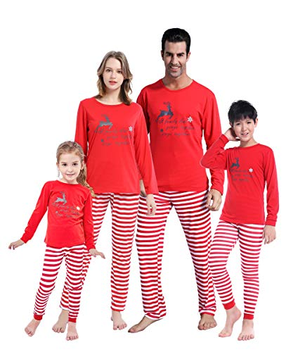 MyFav Matching Family Christmas Pajamas Set Soft Cotton Clothes Sleepwear -