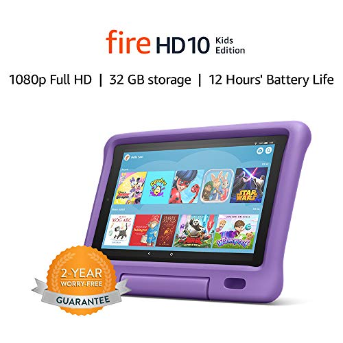 Fire HD 10 Kids tablet | for ages 3-7 | 10.1″ 1080p Full HD Display, 32 GB, Purple Kid-Proof Case (Previous Generation – 9th)