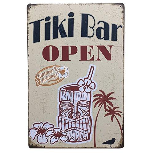 KAYI Tiki Bar Open Vintage Wall Poster Retro Metal Tin Sign Bar Pub Home Plaque Cafe Home Bar Decor Wall Sticker