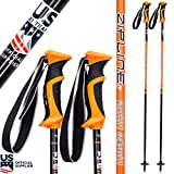 Ski Poles Graphite Carbon Composite - Zipline Lollipop U.S. Ski Team Official Supplier (Orange, 48' in./122 cm)