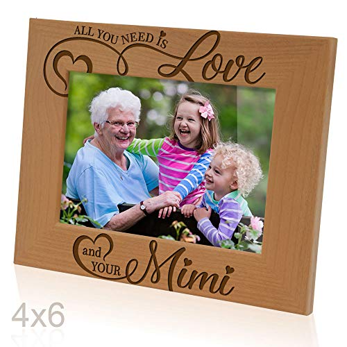 Love Natural (Kate Posh - All You Need is Love your Mimi Engraved Natural Wood Picture Frame, Grandparent's Day Gifts, Grandma Gifts, Nana, (4x6-Horizontal))