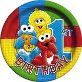 : Sesame Street 1st Birthday Paper Dinner Plates, 8ct