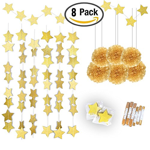 Gold Twinkle Star Garland 25Feet& Gold Tissue Paper Pom Poms(6pcs),Konsait Sparkling Gold Star Banner Bunting and Gold Tissue Paper Flowers for Bridal Baby Showers Birthday Party Hanging (Baby Shower Hanging Decorations)