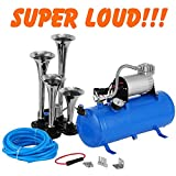 Etuoji 1.6 Gallon 150DB Air Horn with 4 Trumpet, Super Loud Sound of Compressor Kit, Train Horn for Car/Truck/Boat (US Stock)