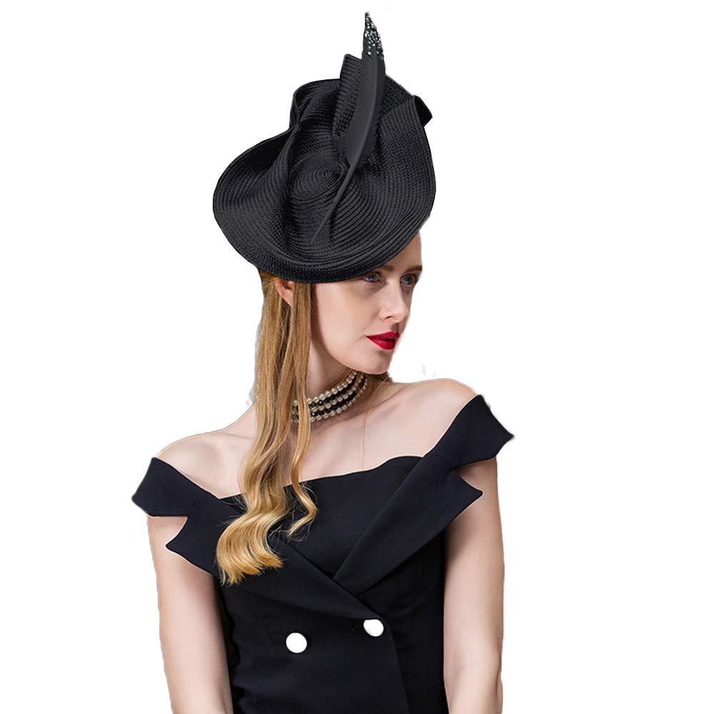 FADVES Women Sinamay Pillbox Hat Weddings Fedora Fascinators Feather Church Hats (Black)