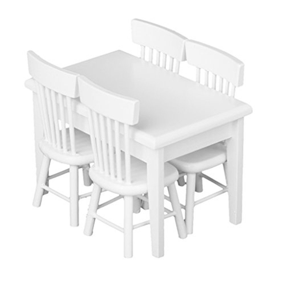 5pcs Dining Table Chair Dollhouse Miniature Wooden Furniture Set Children Gift Primary White