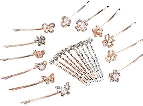 ANBALA Crystal Rhinestone Pearl Hair Pins, 22 Pack Rose Gold Silver Flower Bear Pattern Hair Barrette Hair Clip Hair Pins for Women Girls by ANBALA