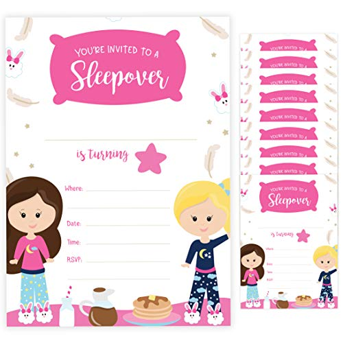- Girls Sleepover Style 1 Happy Birthday Invitations Invite Cards (10 Count) With Envelopes Boys Girls Kids Party (10ct)