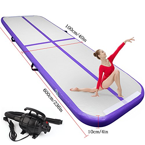 9.84ft/13.12ft/16.4ft/19.68ft air track tumbling mat inflatable gymnastics airtrack with Electric Air Pump for Practice Gymnastics,Cheerleading, Tumbling,Parkour, and Martial Arts (Purple, 19.68) (Air Purple)