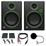 "Mackie CR4 Creative Reference Multimedia Monitor (Pair) w/ Pro DJ Bundle Includes, 3-feet 1/8"" TRS Male to Two 1/4"" TS Male Cable & Universal Pop Filter Microphone Wind Screen w/ Mic Stand Clip from Mackie"