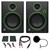 Mackie CR4 Creative Reference Multimedia Monitor (Pair) w/Pro DJ Bundle Includes, 3-feet 1/8 TRS Male to Two 1/4 TS Male Cable & Universal Pop Filter Microphone Wind Screen w/Mic Stand Clip