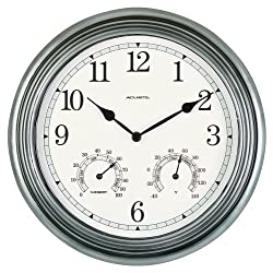 AcuRite 00920 14-Inch Pewter Indoor/Outdoor Wall Clock with Thermometer and Hygrometer
