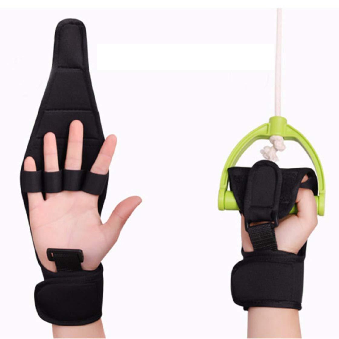 Jinon Finger Splint Brace ability,Finger Anti-Spasticity Rehabilitation Auxiliary Training Gloves For Stroke Hemiplegia Patient And Athlete Finger Rehabilitation [Single Hand Universal] (Black)