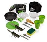 EcoCamp OUTDOOR GEAR Mess Kit (14 Pcs) for Camping w/Cookware Set Plus 2 Utensil Sets, 2 Silicone Cups, Cutting Mat & Dunk Bag Compact, Light & Durable for Military, Backpacking, Hiking|Green (13 Pcs)