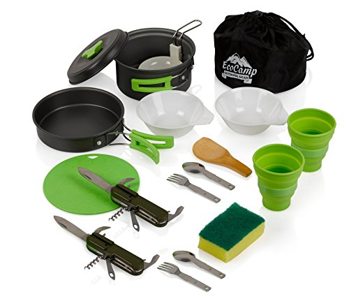 EcoCamp OUTDOOR GEAR Mess Kit (14 Pcs) for Camping w/Cookware Set Plus 2 Utensil Sets, 2 Silicone Cups, Cutting Mat & Dunk Bag by Compact, Light & Durable for Military, Backpacking, Hiking|Green