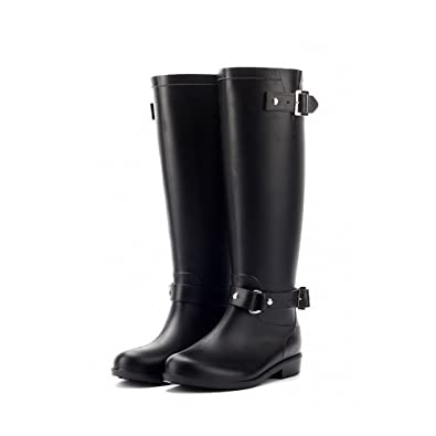 Womens Stylish Snow Rain Waterproof Tall Wellies Adjustable Buckle Strap Knee High Zip Rain Wellington Boots