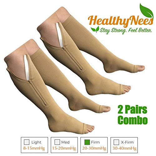 HealthyNees 2 Set Open Toe 20-30 mmHg Zipper Compression Leg Fatigue Reduce Swelling Wide Calf Circulation Knee Length Socks (2 Pairs Beige, 3XL)