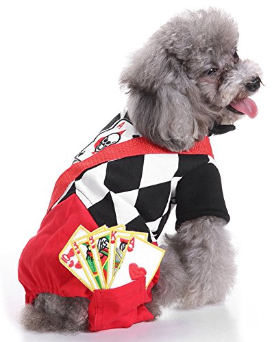 MaruPet Halloween Fancy Dogs Cats Warm Pajama Coat Playing Card Skull Costumes for Teddy, Pug, Chihuahua, Shih Tzu, Yorkshire Terriers, Papillon C-Black/Red