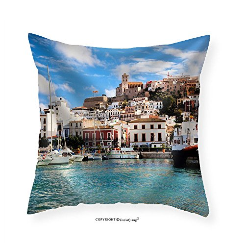 VROSELV Custom Cotton Linen Pillowcase Panorama of Ibiza Old City - Eivissa. Spain Balearic Islands - Fabric Home Decor 28''x28'' by VROSELV