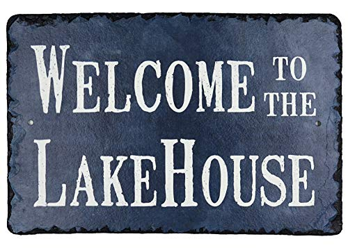 Sassy Squirrel Beautifully Handcrafted Slate Welcome to The Lake House Plaque (12