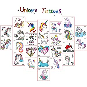 Jatidne Unicorn Temporary Tattoos for Kids Birthday Party, Waterproof Unicorn Tattoo Stencil Unicorn Party Supplies 25 sheets