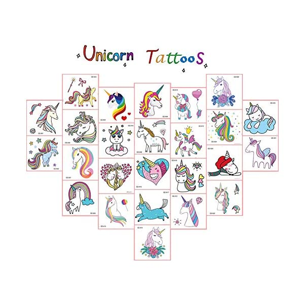 Jatidne Unicorn Temporary Tattoos for Kids Birthday Party, Waterproof Unicorn Tattoo Stencil Unicorn Party Supplies 25 sheets 4