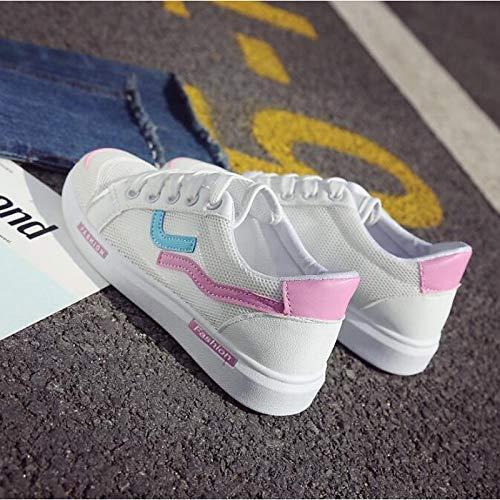 ZHZNVX Zapatillas de Confort para Mujer PU (Poliuretano) Zapatillas de Deporte de Primavera y Verano Tacón Plano con Punta Cerrada Rojo/Azul / Rosa Pink
