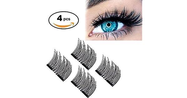 80a56b1a5fd 【Upgrade】Long Dual Magnetic False Eyelashes -Ultra Thin 3D Fiber Reusable magnetic  eyelashes, Perfect for Deep & Round Eyes (4 Pcs Long)