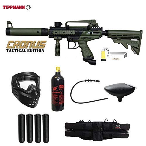 MAddog Tippmann Cronus Tactical Silver Paintball Gun Package - Black/Olive