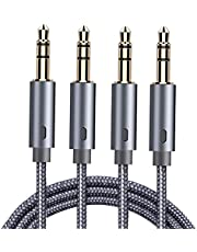 AUX Cable, Goalfish 3.5mm Male to Male Auxiliary Audio Cable [4ft/2Pack,Hi-Fi Sound] Nylon Braided AUX Cord for Car/Home Stereos, iPhone iPod iPad, Headphone, Smartphone, Tablet, Speaker, Echo & More