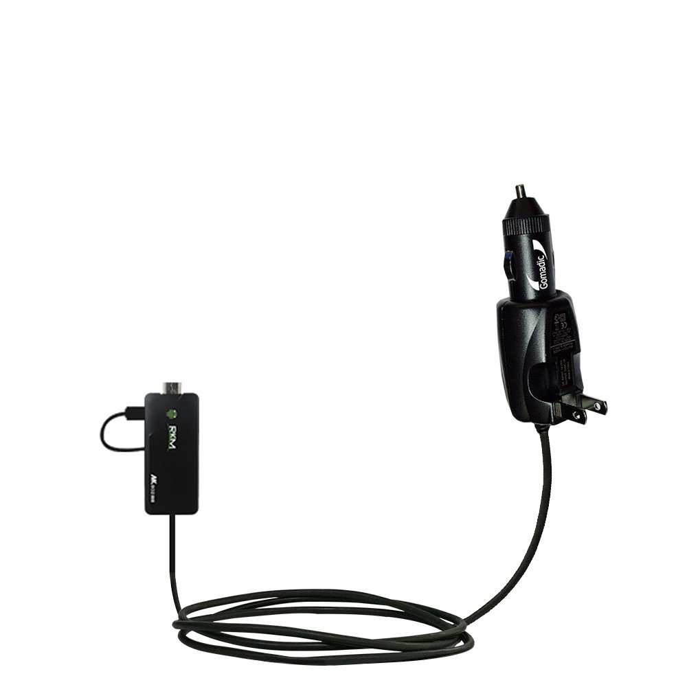 Unique Gomadic Car and Wall AC/DC Charger designed for the Android MK802 MK808 Mini PC – Two Critical Functions, One Great Charger (includes Gomadic TipExchange)