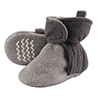 Hudson Baby Baby Cozy Fleece Booties with Non Skid Bottom, Charcoal/Heather Gray, 6-12 Months