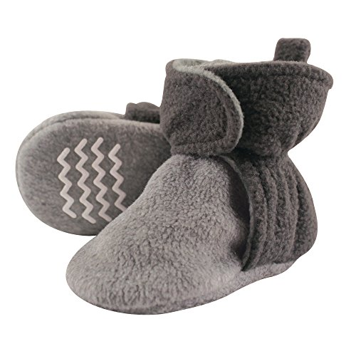 Hudson Baby Baby Cozy Fleece Booties with Non Skid Bottom, Charcoal/Heather Gray 12-18 Months