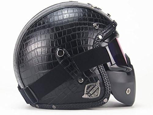 安全装置 ヘルメット - レザーハーフオープンフェイスオートバイゴーグルハーフヘルメットバイクバイカースクーターツーリングパイロットレトロ 個人用保護具 (色 : B, サイズ さいず : XL61-62cm)