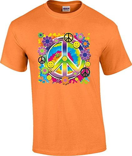 (T-ShirtQueen Men's Neon Peace Sign T-Shirt X-Large Orange)
