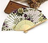 White 1Pc Summer Style Folding Hand Held Fan Fabric Floral Wedding Dance Favor Pocket Fan
