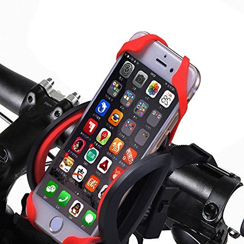 Heavy Duty Universal Bike Phone Mount Holder Bicycle/Motorcycle Handlebar Cellphone Cradle for iPhone 6S, 6S+, 5S, SE, Samsung S7, S6, Google Nexus (Case Qable Powerz Iphone 4)
