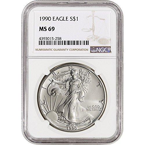 Eagle $1 MS69 NGC (1990 American Silver Eagle)