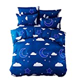 Is Eastern King the Same As King Mumgo Home Textile Bedding Sheet Duvet Cover Sets 100% Polyester for Kids Girl Sky Moon Star Duvet Cover Pillowcase Blue(Not Include Comforter)Full Size