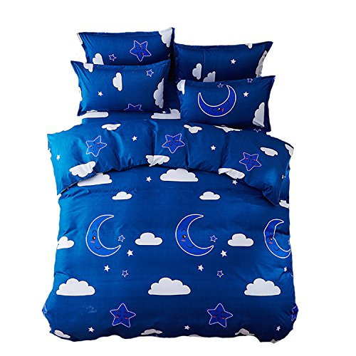 Mumgo Home Textile Bedding Sheet Duvet Cover Sets 100% Polyester for Kids Girl Sky Moon Star Duvet Cover Pillowcase Blue(Not Include Comforter)Twin Size