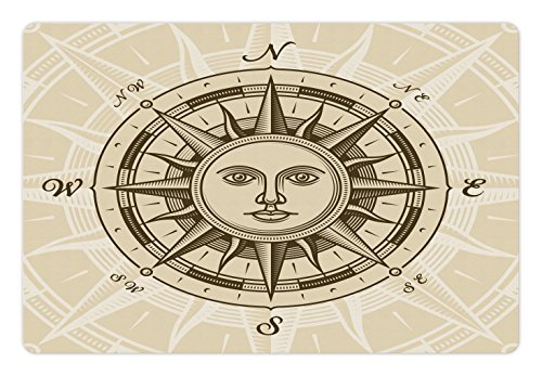 Compass Pet Mats for Food and Water by Lunarable, Vintage Compass Rose with Sun Shape Human Face Historical Design Illustration, Rectangle Non-Slip Rubber Mat for Dogs and Cats, Beige - Illustration Face Shape