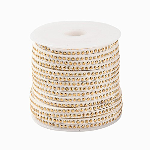 PH PandaHall 1 Roll Lace Faux Leather Suede Beading Cords Velvet String with Aluminum Cabochons 3x2mm 20 Yards per Roll White