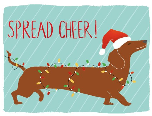 Dachshund Spread Cheer Holiday Embellished Notecards (Christmas Embellished Notecard)