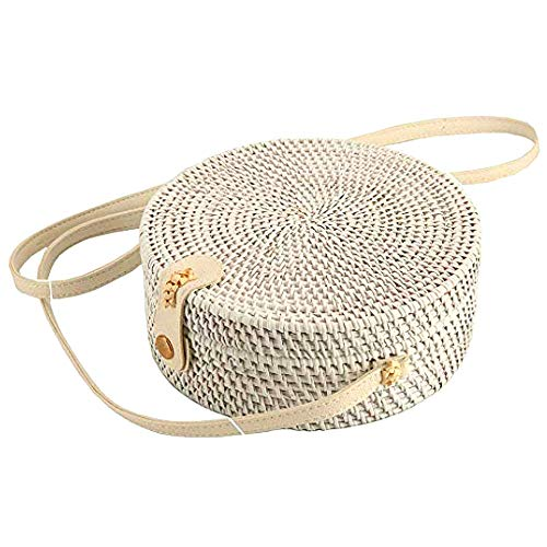 Handmade Straw White Round Rattan Bag Zipper Pouch Adjustable Strap Wicker Purse (White) (Bags Bali Rattan)