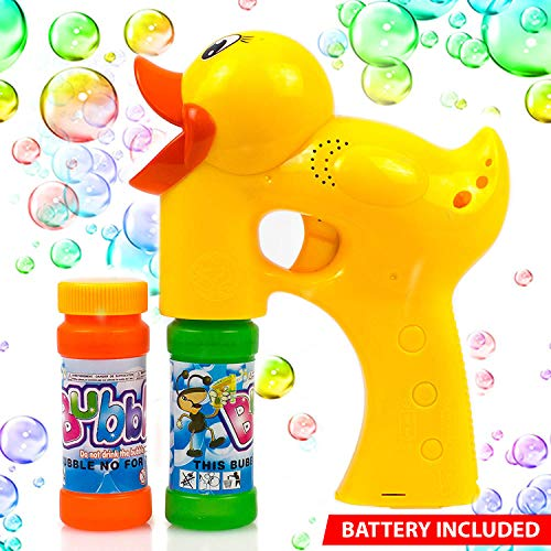 Duck Bubble Shooter Gun Toy with Sounds and Music-2 Bottles of Solution and Batteries ()